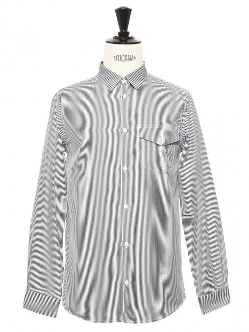 Chemise à fines rayures bleu marine et blanches NEUVE Prix boutique 150€ Taille S