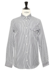 Chemise blanche à rayures bleu marine NEUVE Prix boutique 150€ Taille S