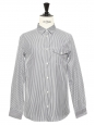 Navy blue and white thin stripes printed cotton shirt NEW Retail price €150 Size S