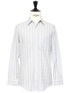 Chemise en popeline de coton bleu ciel à carreaux NEUVE Prix boutique 160€ Taille S