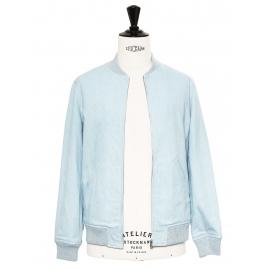 Veste blouson teddy HERVE en gabardine de coton bleu ciel NEUVE Prix boutique 390€ Taille XS