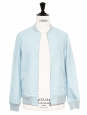 Sky blue cotton gabardine varsity jacket NEW Retail price $499 Size XS
