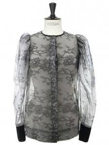 Chemise col rond en fine dentelle noire Px boutique 950€ Taille 34/36