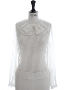 Rare haute couture white silk organza blouse worth 1500€ Size 38