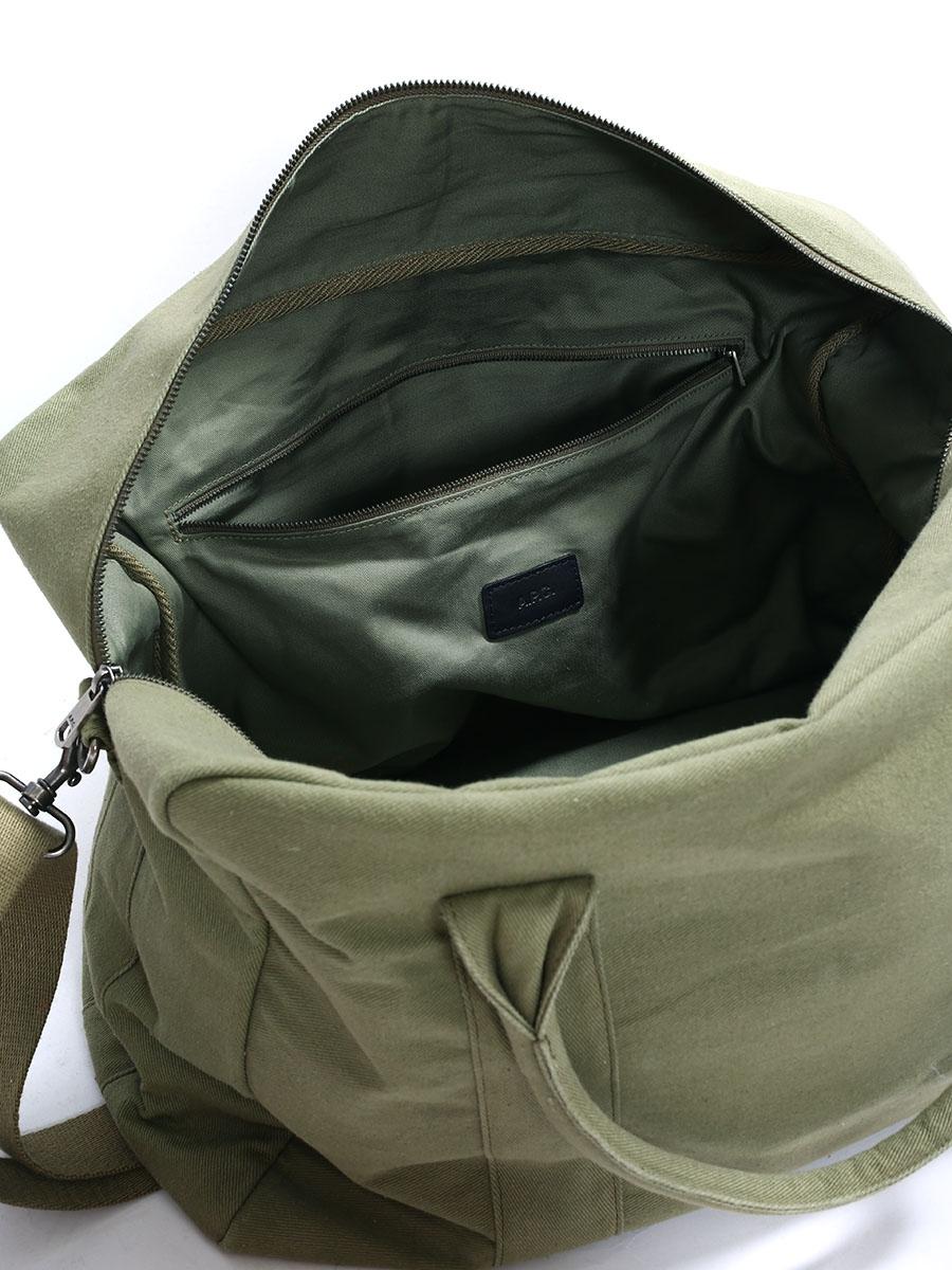 louise paris apc sac weekend en toile de coton vert olive neuf prix boutique 225. Black Bedroom Furniture Sets. Home Design Ideas