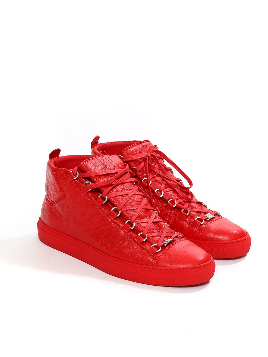 Louise Paris BALENCIAGA Baskets hautes ARENA en cuir rouge