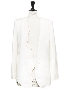 Swan white asymmetric cut blazer jacket Retail price €1100 Size 36