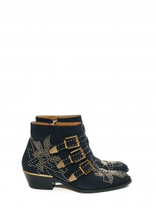 Midnight blue suede leather studded SUSANNA ankle boots Retail price €905 Size 37/38