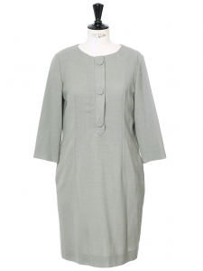 Light khaki green wool and silk dress NEW Retail price €1100 Size 40