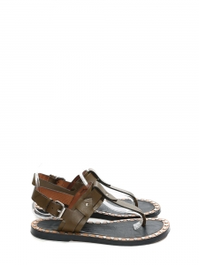 Sandales plates CIRCUS MAXIMUS en cuir kaki Prix boutique 480€ Taille 37