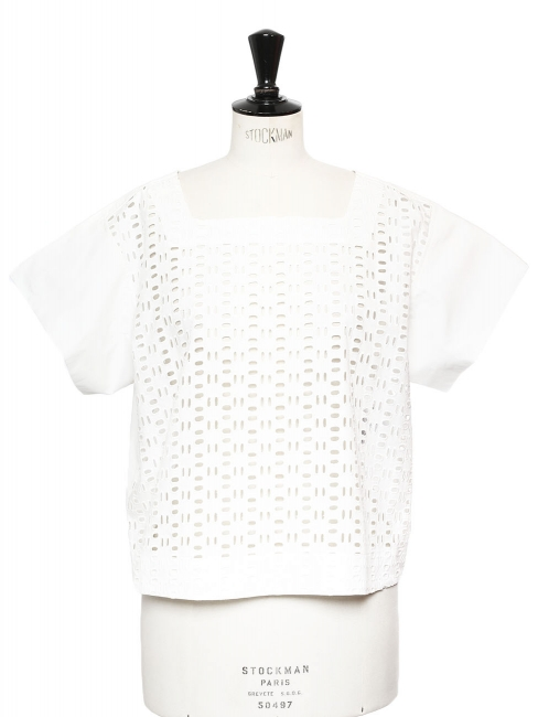 White eyelet embroidery front cotton top Retail price €225 Size 40