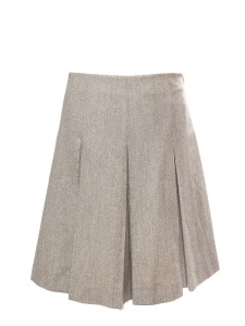 Greige grey pleated wool A-line skirt Retail price €900 Size 40
