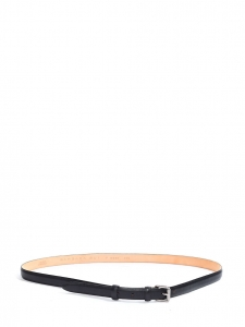 Black leather belt with silver buckle Retail price €220 Size L