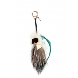 MINI KARLITO bag charm in fur with a green edge NEW Retail price €820