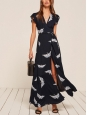 Robe longue portefeuille SPARROW bleu marine et moineaux blancs NEUVE Prix boutique $218 Taille M