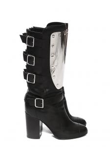 Bottes hautes à talon en cuir noir et plaque métal argent Prix boutique 1600€ Taille 37