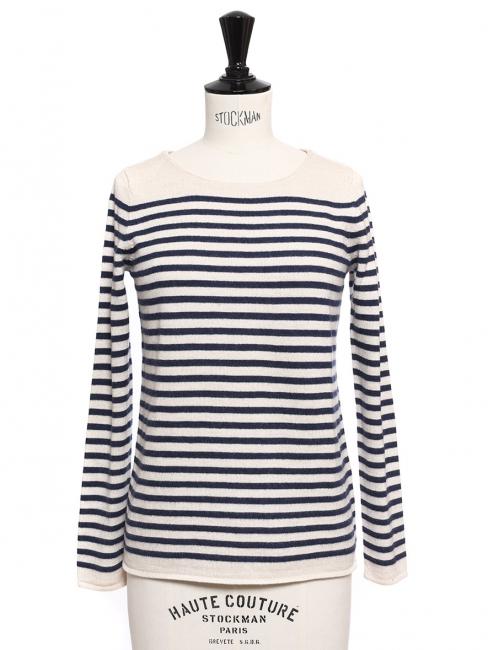 5f9624fc01 Pull marinière en laine, coton et cachemire rayé bleu marine et blanc Prix  boutique 170