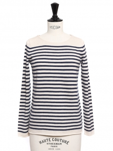 Navy blue and white striped wool, cashmere and cotton Breton sweater Retail price €170 Size S