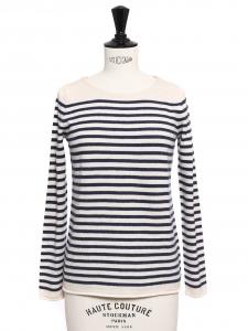 Pull marinière en laine, coton et cachemire rayé bleu marine et blanc Prix boutique 170€ Taille 36