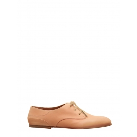 ANNICK Nude beige Derby leather lace-up Oxford flat shoes Retail price €420 Size 36.5