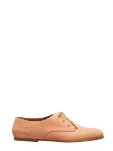 Chaussures plates ANNICK derby en cuir lisse beige nude Px boutique 420€ Taille 36,5