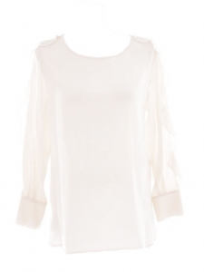 Ivory white ruffle-trimmed silk-crepe blouse Retail price €300 Size 38