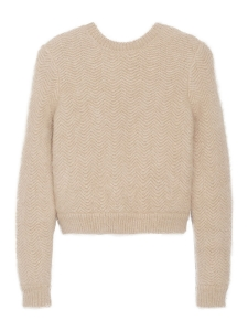 Beige wavy chevron angora-blend sweater Retail price €1310 Size M