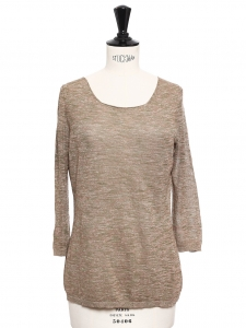 Top en lin chiné marron et kaki clair Prix boutique 110€ Taille 34/36