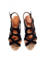 Sandales en suède noir découpé et talon liège Prix boutique 750€ Taille 37