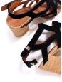 Black suede and cork cut-out cage sandals Retail price €750 Size 37