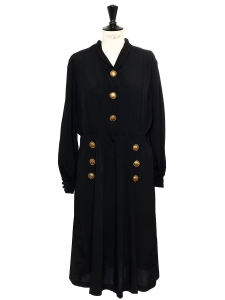 Black mid-length dress with sunny gold brass buttons Size L