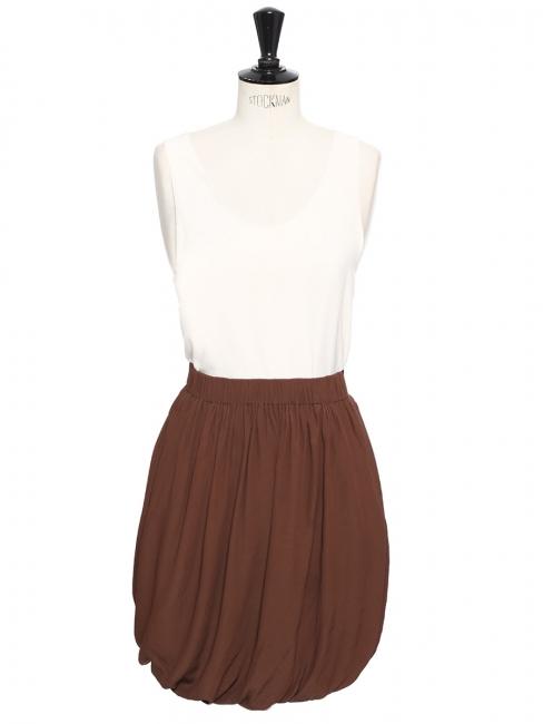 Jupe taille haute drapée en soie marron chocolat Prix boutique 900€ Taille 38