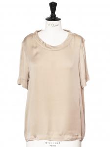 Top manches courtes col rond en soie beige Px boutique 600€ Taille 38