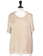 Beige silk short sleeved loose fit blouse Retail price €600 Size 38
