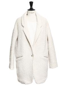 Cream white wool-blend coat Retail price €250 Size M