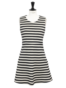 Black and beige striped wool jersey round neck sleeveless flared dress Retail price €950 Size 36
