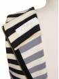Robe cintrée sans manche en jersey de laine rayé noir et beige Prix boutique 950€ Taille 36