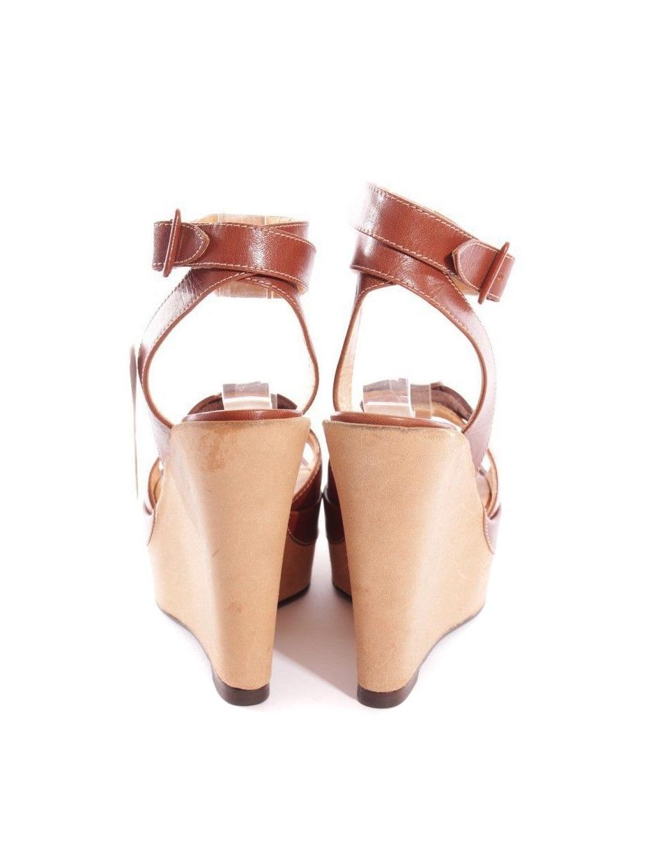 6505438181914d ... Sandales à talon compensé, plate-forme et bride cheville en cuir beige  et caramel ...