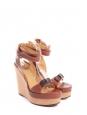 Sandales à talon compensé, plate-forme et bride cheville en cuir camel Prix boutique 750€ Taille 39