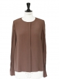 Chocolate brown silk crepe shirt NEW Retail price €750 Size 40