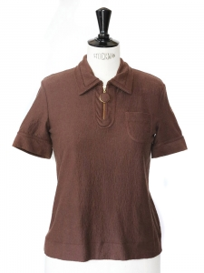 Chocolate brown cotton short sleeved polo top NEW Size S