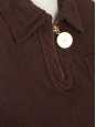 Polo manches courtes en coton marron et zip doré NEUF Taille S