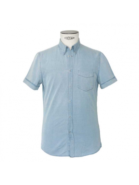 Light blue denim short sleeved shirt Retail price €160 Size 48 / S