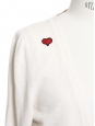 White luxury cashmere cardigan with red heart Macon & Lesquoy patch Retail price €550 Size 36