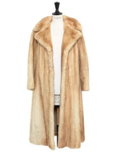 Manteau long en fourrure de vison beige, crème et camel Taille 36