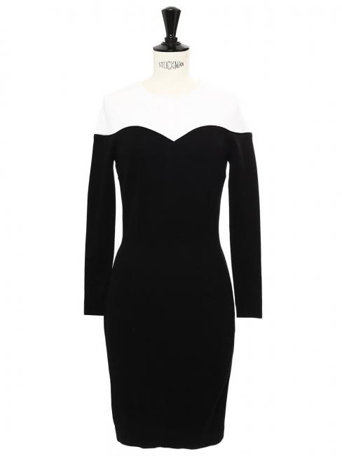 Robe coeur près du corps en jersey stretch noir et blanc NEUVE Prix boutique 800€ Taille 34