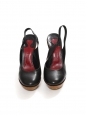 Black leather wedge and platform slingback shoes Retail price €720 Size 39.5
