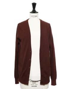 Intense burgundy brown cashmere V neck cardigan Retail price €200 Size S