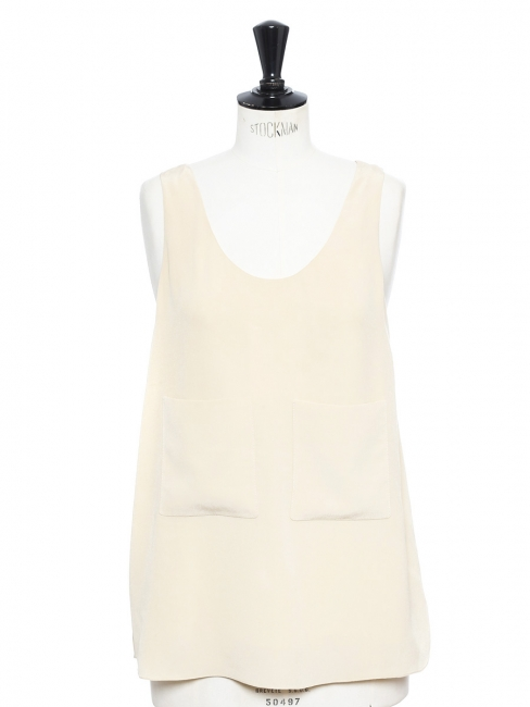 Light beige silk crepe tank top Retail price €370 Size 38