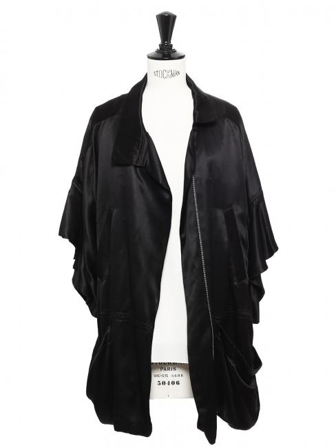 Veste manches kimono en satin de soie noir Prix boutique 400€ Taille 38